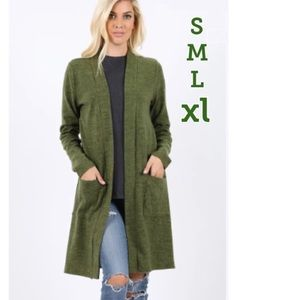 NEW Women's Long Green Cardigan With Pockets